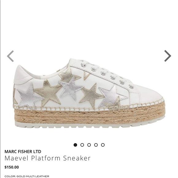 MARC FISHER Women's Maevel Leather Lace Up Espadrille Platform Sneakers 7JQqet6dj